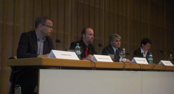 Die NebenklagevertreterInnen (von links nach rechts) Carsten Ilius, Sebastian Scharmer, Dr. Mehmet Daimagüler, Angelika Lex (c) nsu-watch
