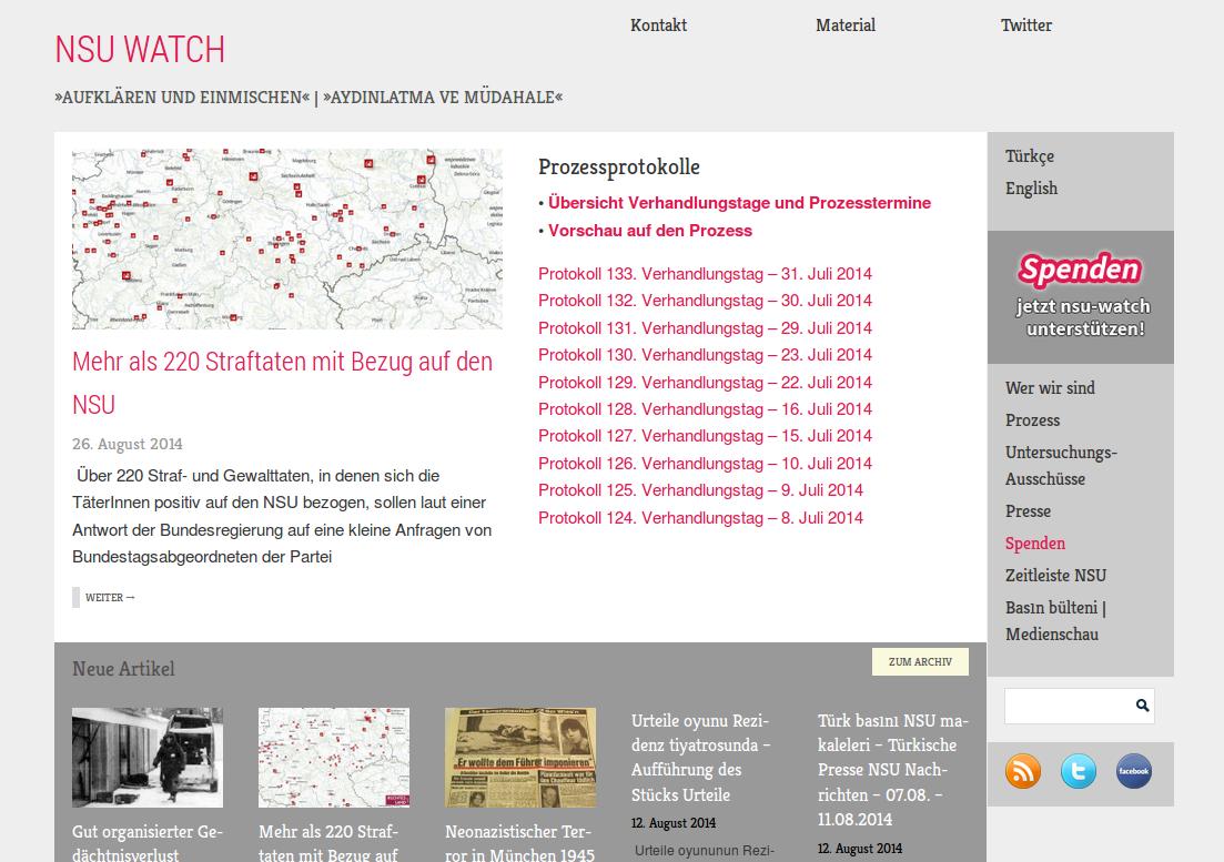 Das war die alte NSU-Watch Homepage