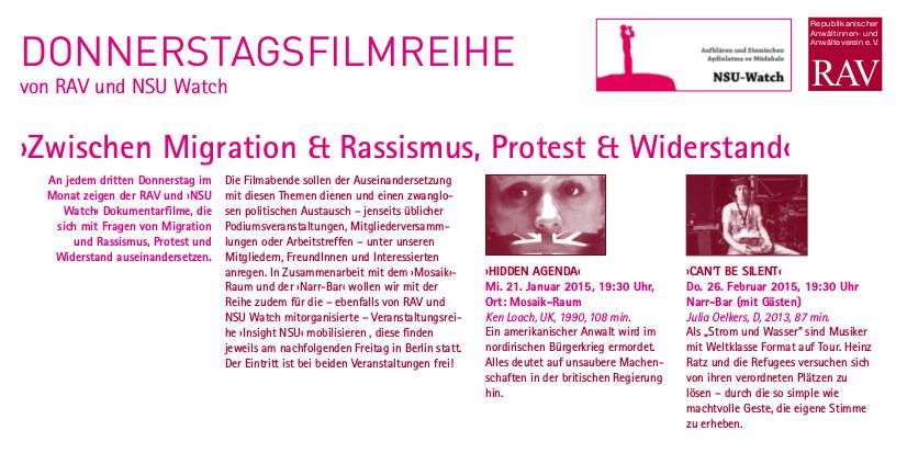 RAV-NSU Watch-Filmreihe.Flucht & Widerstand