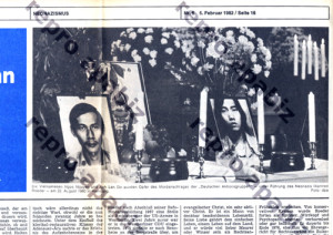 Opfer des Mordanschlages der Deutschen Aktionsgruppen vom 22. August 1982 in Hamburg wurden die Vietnamesen Nguyen Ngoc Châu und Dô Anh Lân. Ausschnitt aus die tat Nr.6/1982 v. 5.Februar 1982.